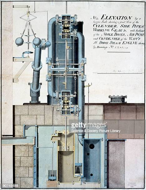Crosssection elevation drawing of a 56 horsepower steam engine of the type designed by James Watt Illustrated here are the cylinder side pipes...