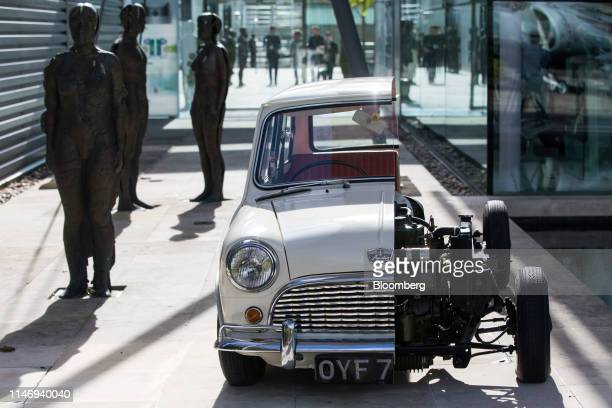 Cross-section of a Mini automobile sits outside the Dyson Group Plc campus in Malmesbury, U.K., on Wednesday, Sept. 26, 2018. Bagless vacuum cleaner...
