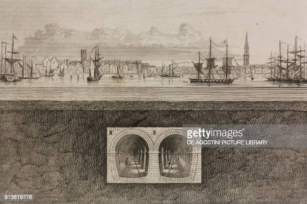 Crosssection of the tunnel under the Thames river London England United Kingdom engraving by Lemaitre from Angleterre Ecosse et Irlande Volume IV by...