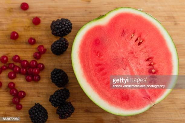 Cross-section watermelon, blackberries and red currants.