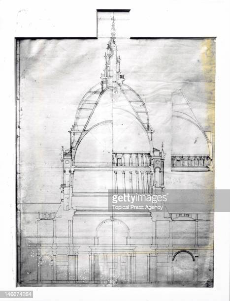 Cross-sectional plan of St Paul's Cathedral by its architect, Sir Christopher Wren, circa 1673.
