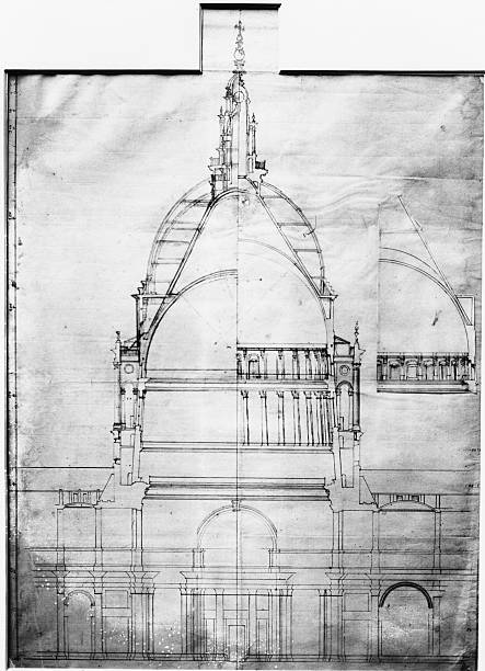 A cross-sectional plan of St Paul's Cathedral in London,...
