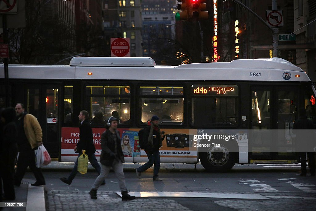 A crosstown bus makes its way through Union Square on December 19, 2012 in New York City. Following the recommendation of outgoing Chairman Joseph Lhota, the Metropolitan Transportation Authority (MTA) board approved fare and toll hikes Wednesday. The hikes, which will go into effect in March, include raising the base fare from $2.25 to $2.50, the 7-day MetroCard from $29 to $30 and the 30-day MetroCard from $104 to $112.