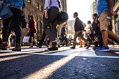 Crosswalk, people crossing in downtown