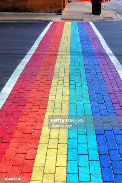 Crosswalks along Halsted Street were painted to celebrate Pride month in the Boystown Lakeview neighborhood in Chicago Illinois on July 17 2019