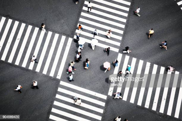 crosswalks - overhead view of traffic on city street tokyo japan stock photos and pictures