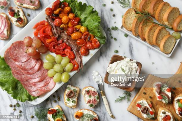 crostini appetizers - roasted pepper stock photos and pictures