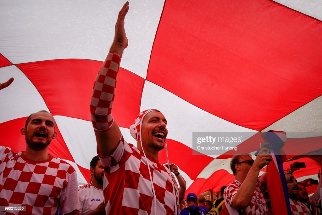 Atmosphere Builds In Moscow As England Take On Croatia In The World Cup Semi-final : News Photo
