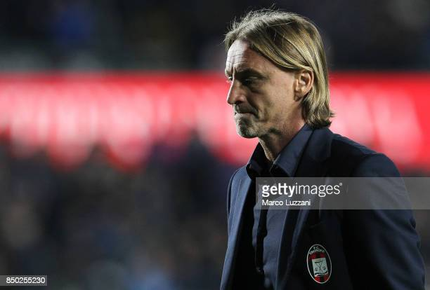 Crotone coach Davide Nicola shows his dejection during the Serie A match between Atalanta BC and FC Crotone at Stadio Atleti Azzurri d'Italia on...