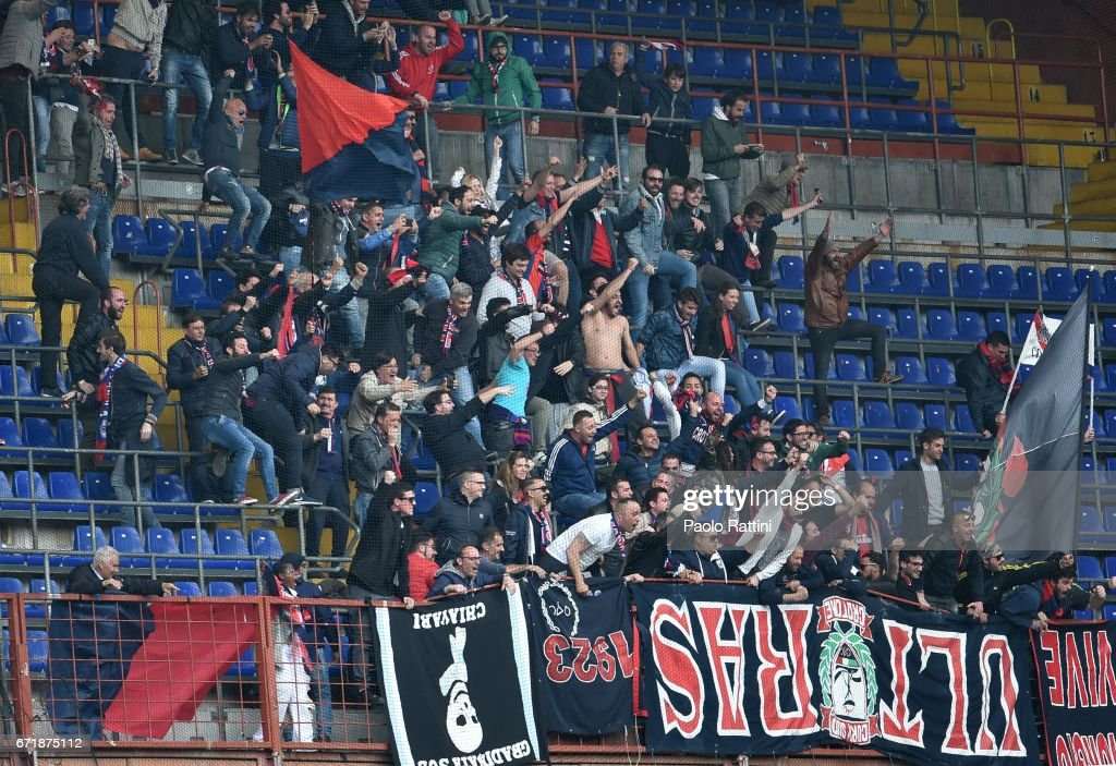 Crotone supporter celebrates after goal 1-2 during the Serie A match between UC Sampdoria and FC Crotone at Stadio Luigi Ferraris on April 23, 2017 in Genoa, Italy.