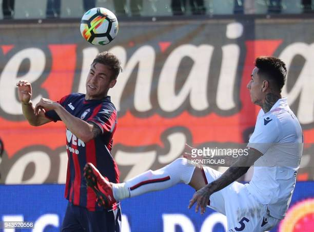 STADIUM CROTONE CALABRIA ITALY Crotone's Deutch midfielder Oliver Kragl fights for the ball with Bologna's Chilean midfielder Erick Pulgar during the...