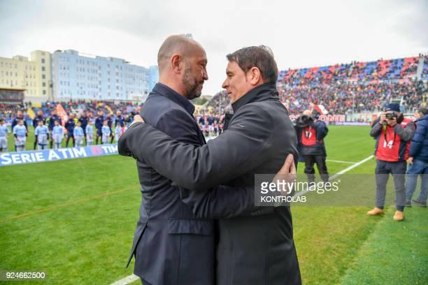 Crotone's Italian coach Walter Zenga greets SPAL's Italian coach Leonardo Semplici before the Italian Serie A football match FC Crotone vs SPAL on...