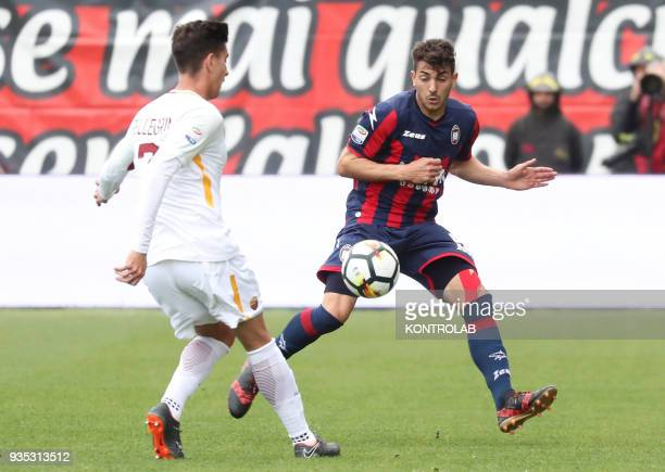 STADIUM CROTONE CALABRIA ITALY Crotone's Italian defender Davide Faraoni fights for the ball with Roma's Italian midfielder Lorenzo Pellegrini during...