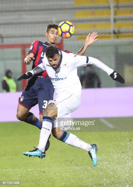 STADIUM CROTONE CALABRIA ITALY Crotone's Italian defender Davide Faraoni heads the ball as fighting with Atalanta'a Italian forward Andrea Petagna...