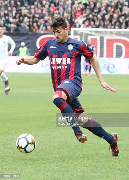 Crotone's Italian forward Andrea Nalini controls the ball during the Italian Serie A football match FC Crotone vs AS Roma on March 18 2018 at the...