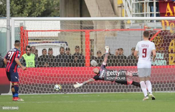 STADIUM CROTONE CALABRIA ITALY Crotone's Italian goalkeeper Alex Cordaz dives as the ball enter the goal during the Italian Serie A football match FC...