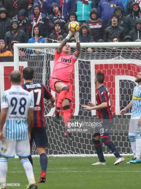 STADIUM CROTONE CALABRIA ITALY Crotone's Italian goalkeeper Alex Cordaz snatches the ball during the Italian Serie A football match FC Crotone vs...
