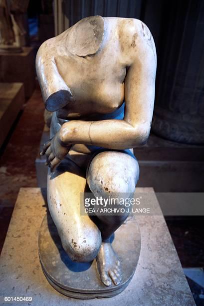 Crouching Aphrodite Roman copy statue a Hellenistic original 3rd century BC marble Roman civilisation 2nd century AD Paris Musée Du Louvre