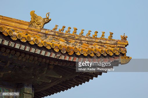 crouching beasts imperial roof decorations beijing china stock photo