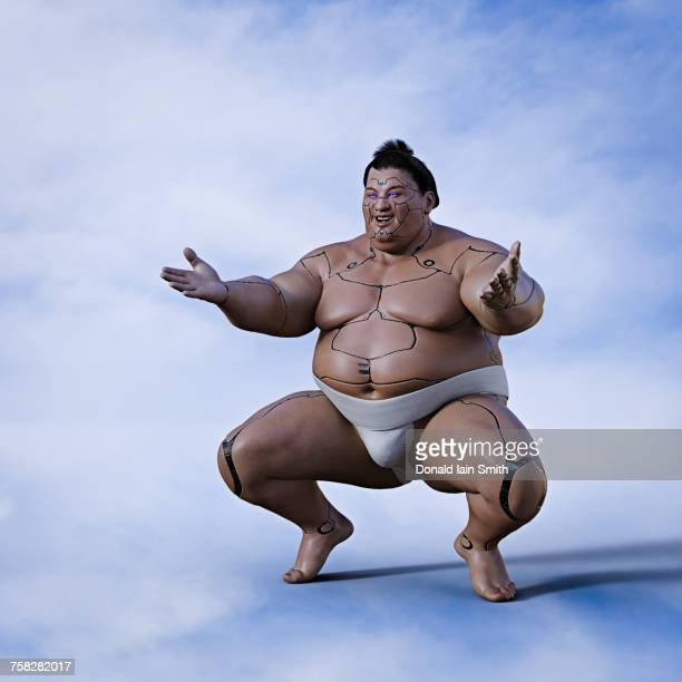 crouching robot sumo wrestler - sumo wrestling stock pictures, royalty-free photos & images