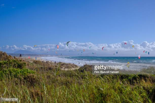 crouded with kitesurfers at the beach of tarifa spain - finn bjurvoll stock photos and pictures