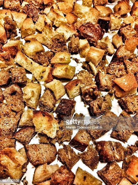 croutons of rye with wheat bread slices in plate - crouton stock photos and pictures