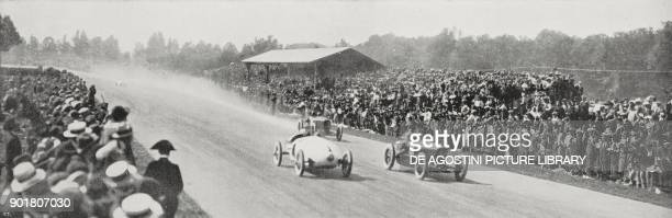 Crowd along the road stage of the European Grand Prix in Monza Italy September 9 from L'Illustrazione Italiana Year L No 37 September 16 1923