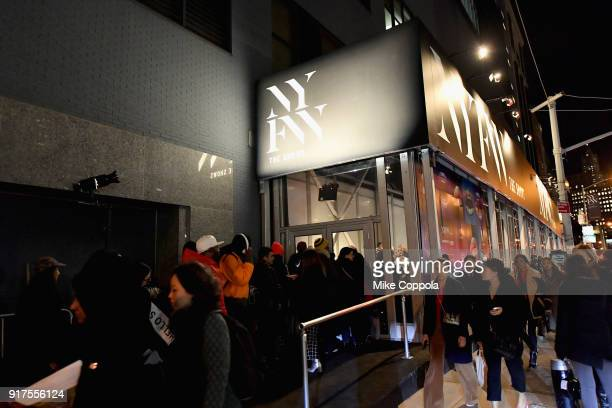 A crowd assembles outside during IMG NYFW The Shows at Spring Studios on February 12 2018 in New York City