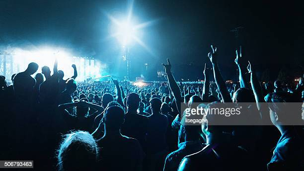 crowd at a music concert - concert stock pictures, royalty-free photos & images
