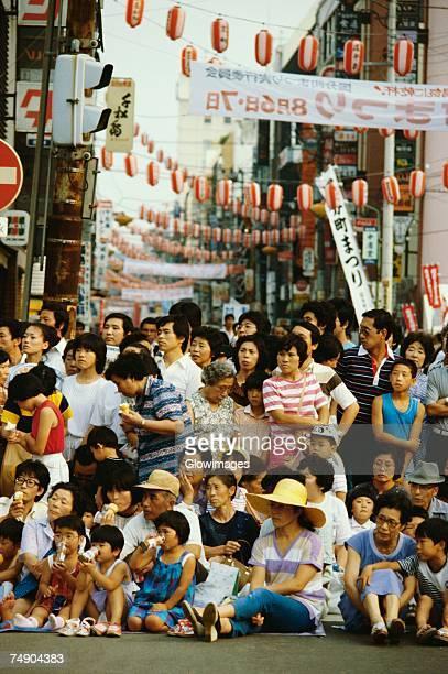 crowd at a traditional festival, tanabata festival, sendai, miyagi prefecture, japan - パレード ストックフォトと画像