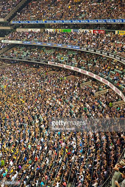 Crowd at Australian Rules Football match at Melbourne Cricket Ground.