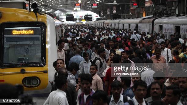 Crowd at Churchgate railway station after Western railway motermen went on strike on Thursday in Mumbai