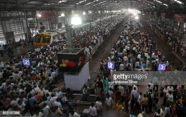 Crowd at Churchgate railway station after Western railway motermen went on strike on Thursday in Mumbai