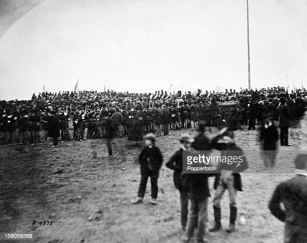 Crowd at Gettysburg Pennsylvania site of the American Civil War battle and President Abraham Lincoln's Gettysburg Address 19th November 1863 This...