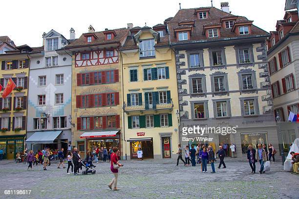 Crowd at Kornmarkt, Lucerne shopping square