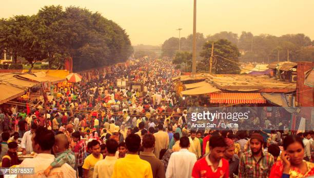 crowd at market - india market stock photos and pictures