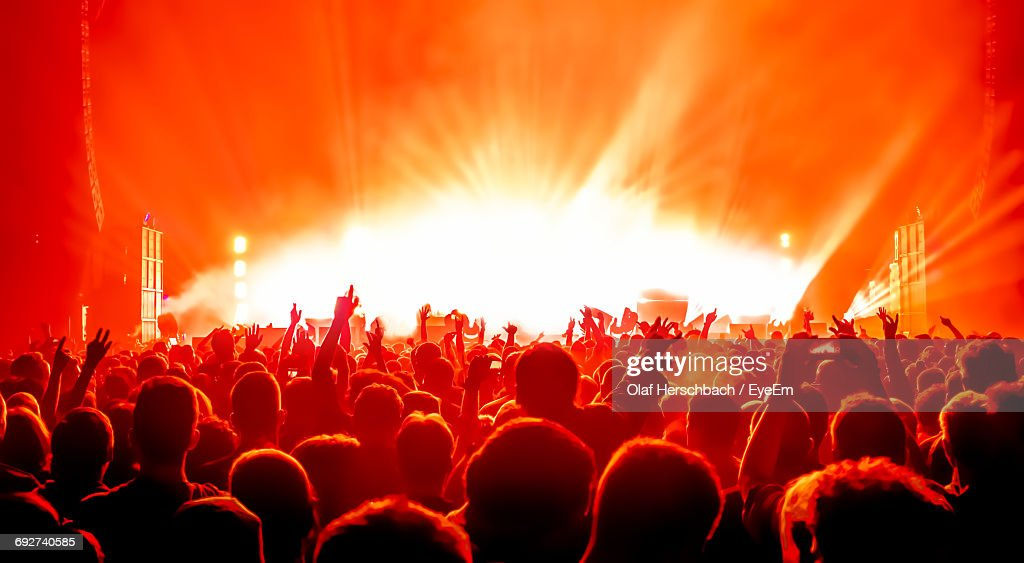 Crowd At Music Concert Against Sky : Stock Photo