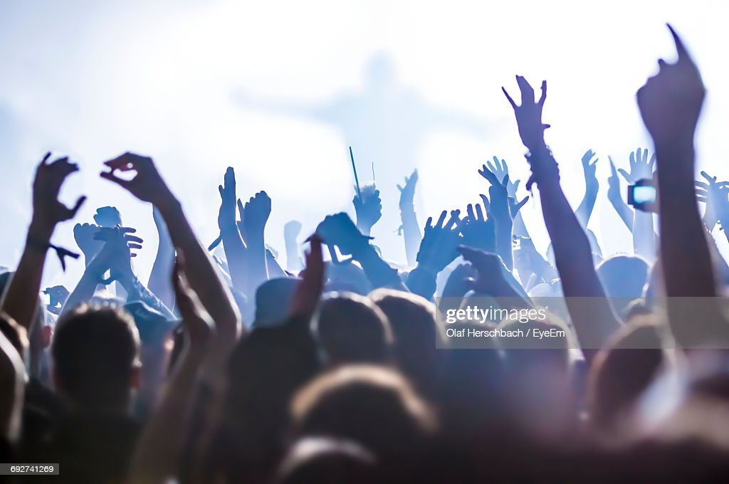 Crowd At Music Concert In Hall : Stock Photo