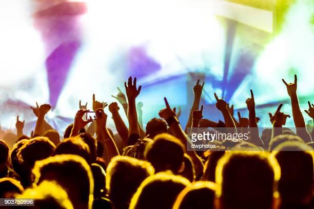 crowd at music concert - 芸能イベント ストックフォトと画像