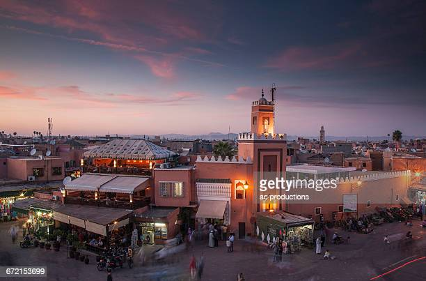 Crowd at night in Jamaa el Fna Square, Marrakesh, Morocco,