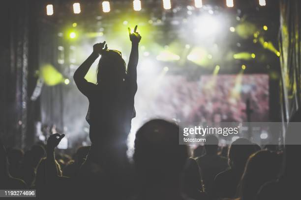 crowd at rock music concert - popular music concert stock pictures, royalty-free photos & images
