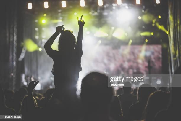 crowd bij rock music concert - popmuziek concert stockfoto's en -beelden