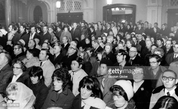Crowd at St James the Major church on Feb 6 for a memorial Mass for 13 men killed by British soldiers in Derry Northern Ireland on 'Bloody Sunday' a...