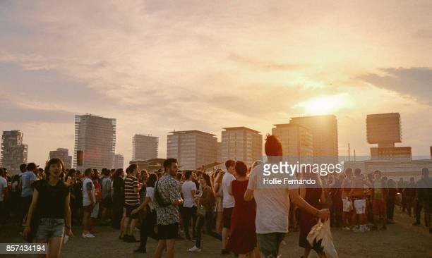 Crowd at Sunset at a Festival