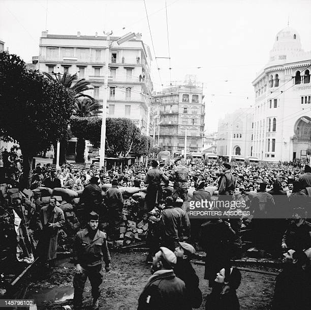 A crowd at the esplanade of the great Post Office during January1960 in Algiers Algeria The insurrection started on January 24th1960 by European...