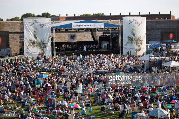 A crowd at the main stage watches the JVC Jazz Festival Newport at Fort Adams State Park August 9 2008 in Newport Rhode Island