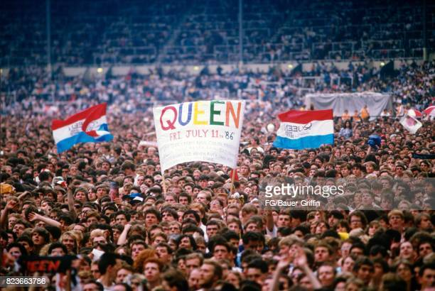 Crowd at the Queen concert at Wembley stadium during the Magic tour on July 11 1986 in London United Kingdom 170612F1