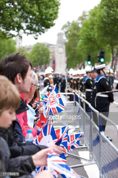 crowd at the queen's diamond jubilee state procession - royal navy stock pictures, royalty-free photos & images