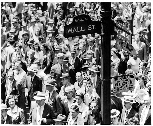 Crowd At Wall Street And Nassau Street In New York City