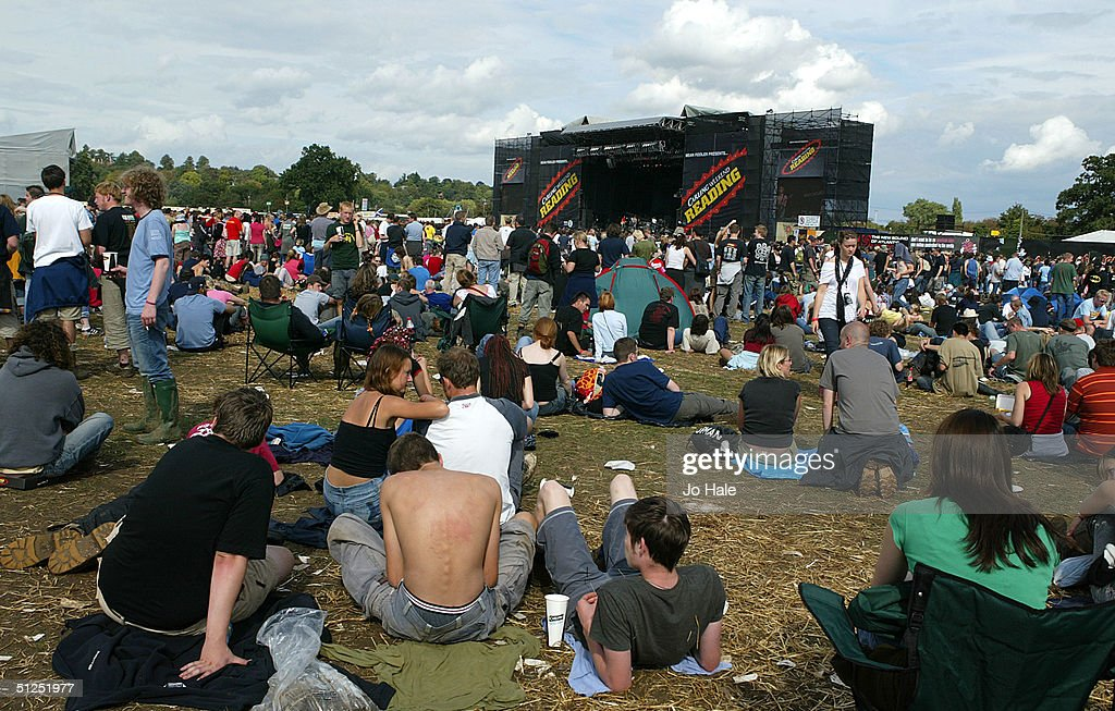 Crowd atmospheric on the second day of 'The Carling Weekend: Reading Festival' on August 28, 2004 in Reading, England. The festival takes place at two venues simultaneously with the second site at Bramhall Park, Leeds.